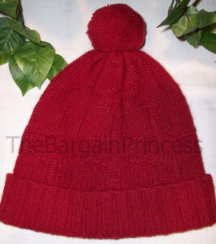 Coach Sculpted C Hat Beanie Pom Pom 80701 Red NWT Wool