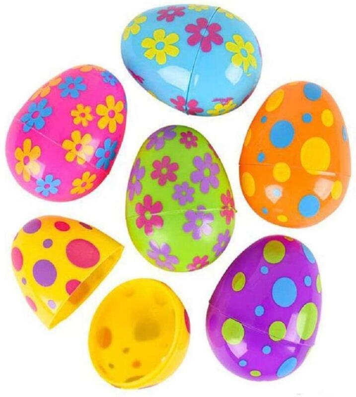 "Set of 12 Vibrant Color Flower & Circle Print 3"" Plastic Easter Eggs Basket Hunt"