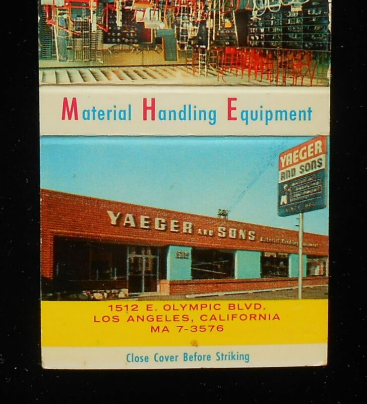 1950s Yaeger and Sons Material Handling Equipment Los Angeles CA Matchbook