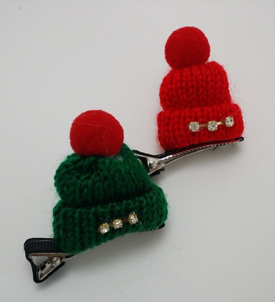 Handmade Pet Dog Christmas Hat Hairpins - Set of 2