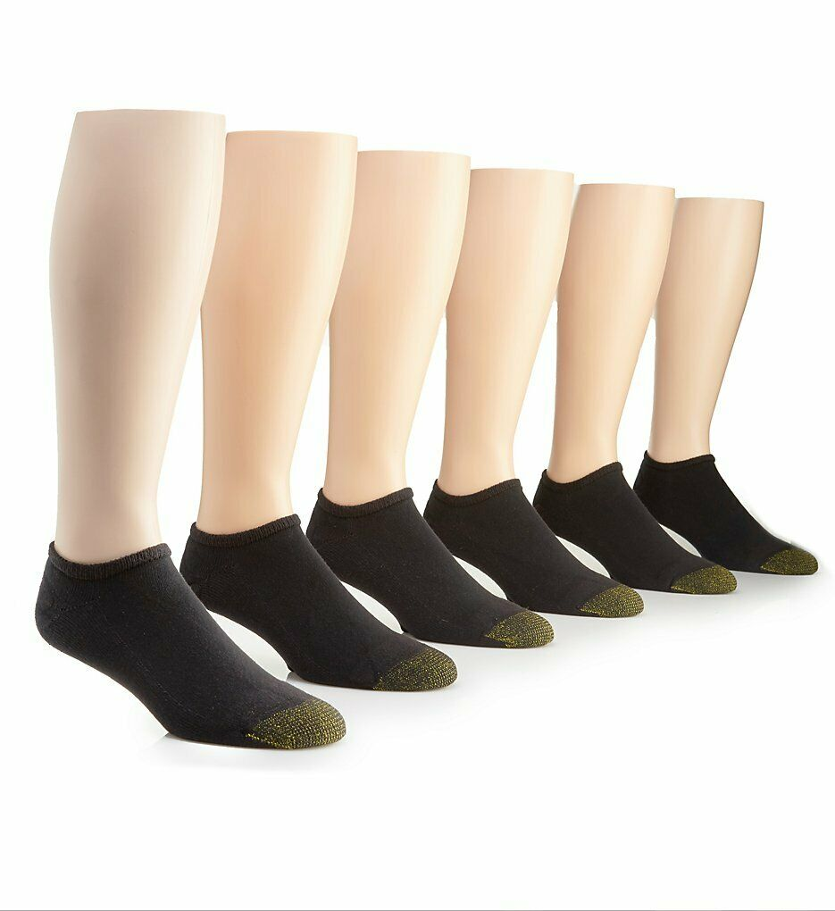 Gold Toe Men's Black Cotton No Show Athletic Sock 6 pair – Sock Size 10-13 Clothing, Shoes & Accessories