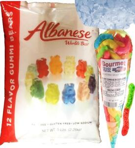 Gummy Bears Albanese 12 Flavors 5lb Bag With Gourmet Kruise® Neon Sour Worm 10oz