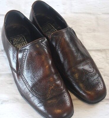Vintage John White Brown Leather Slip On Brogues Shoes Size 8.5 Smart Formal