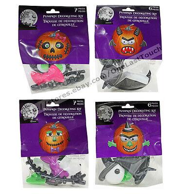HALLOWEEN 6pc or 7pc PUMPKIN DECORATING KIT Plastic Party Decor *YOU CHOOSE* New (Plastic Pumpkin)