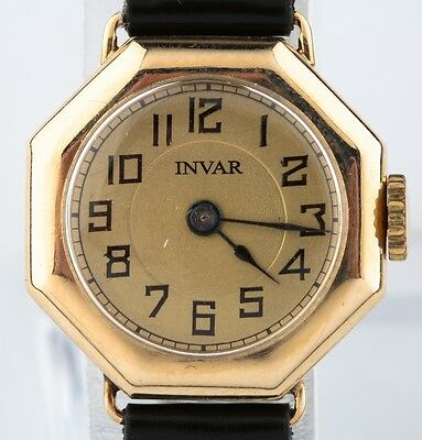 (Vintage 14k Yellow Gold Ladies Invar Octagon Watch with Leather Strap 15 Jewels)