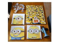 Set Of Minions Pictures Wall Art Kids Room Decor Battery Fairy Lights Fart Gun!