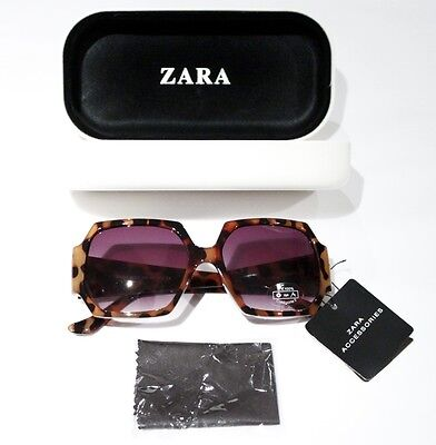 ZARA ACCESSORIES Geometric BROWN Leopard SUNGLASSES 100% UV with Case FREE SHIP