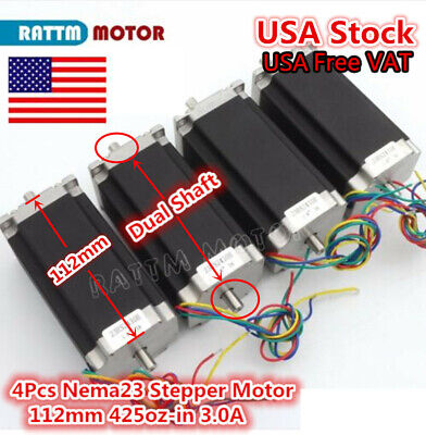 Usa 4pcs Nema23 Dual Shaft L112mm Stepper Motor 425oz-in Cnc Router Machine