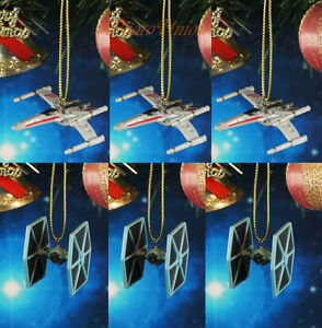 Decoration Home Ornament Xmas Decor Star Wars Tie Fighter vs X Wing Set 3 ABx3