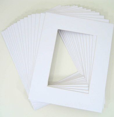 Pack of 25 11x14 WHITE Picture Mats Mattes for 8x10 Photo + Backing + Bags