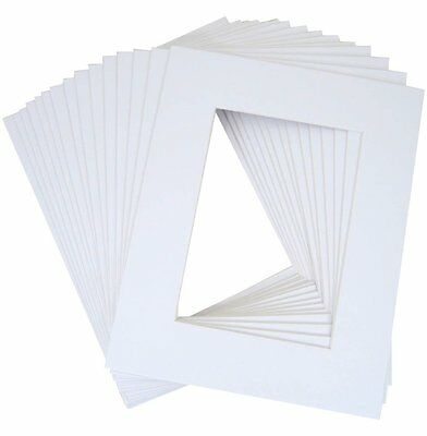 Pack of 20 8x10 White Picture Mats with WhiteCore for 5x7 Photo