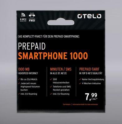 otelo D2 Smartphone 1000 Prepaid Handy SIM Karte 1€ Bonus micro Callya Vodafone