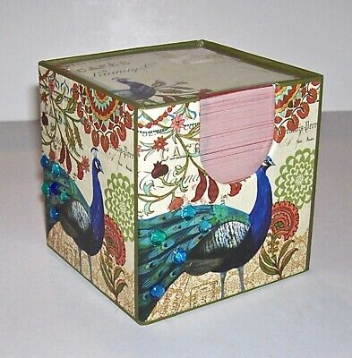 Lovely Peacock Note Cube With Rhinestones New Sealed