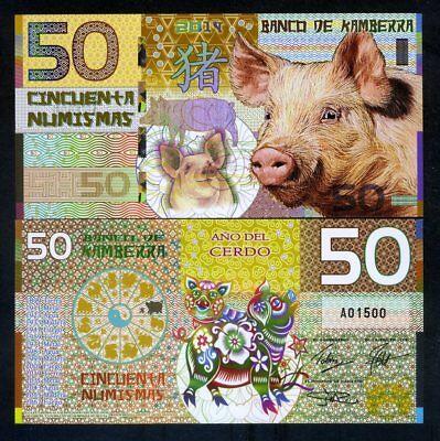 Kamberra, POLYMER, 50 Numismas, 2019, China Zodiac Lunar Year of the Pig
