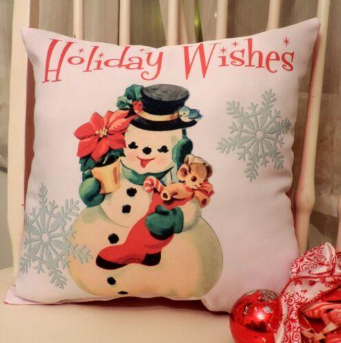 "Retro Kitsch ""Holiday Wishes"" Snowman Christmas Pillow, Nostalgic Holiday Decor"