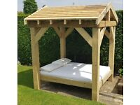 4-Poster Rustic Timber Outdoor Garden Double Bed 1.77m x 2.04m with various roof options extra