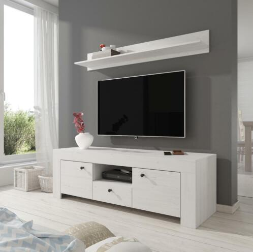 Tv Meubel Wit Eiken.Tv Meubel Ruby Wandplank Wit Eiken 155 Cm Kasten Tv