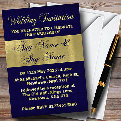 Navy Blue And Glitter Look Gold Wedding Personalised Invitations (Navy Blue And Gold Wedding)