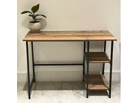 Wooden Computer Desk In Rustic And Metal Frame