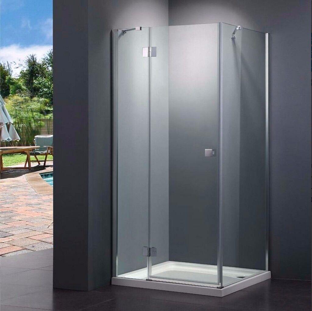 10mm Thick Easy Clean 800mm Frameless Pivot Shower Door Recess