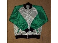 Vintage original Reebok zipped track suit top/jacket, size XL, green and silver grey, zip pockets.