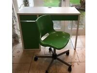 Micke IKEA desk kids office green with matching swivel chair snille swivel chair