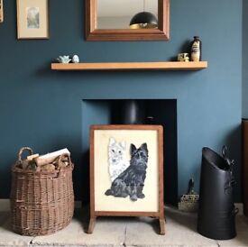 Vintage wooden framed fire screen Scotty Dog design