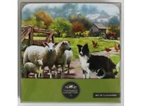 Brand New Farm Border Collie Sheep Set of 4 Coasters By The Leonardo Collection