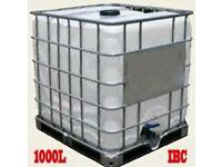 1000L IBC + 20L plastic liquid containers, tanks, jars, drums, cubes