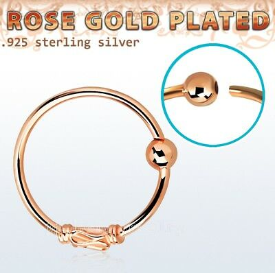 Rose Gold Plated .925 Silver a Balinese Wire Design 2mm Ball Nose Hoop 20G 5/16
