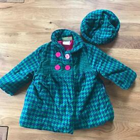 Girl's Coat + Matching Beret (18 - 24 months)