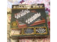 WOOD AND GLASS 3 GAME SET. BACKGAMMON/CHECKERS/CHESS.