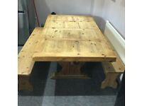 Rustic Dining table Mexican Pine & 2 Benches