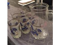 Jug and 5 glass sets for sale
