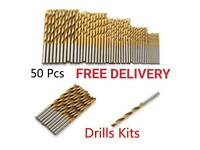 Brand New FREE DELIVERY- 50pcs 1-3mm Titanium Coated HSS High Speed Steel Drill Bit Set
