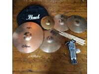 Collection of drum cymbals, plus bag, sticks and pedal
