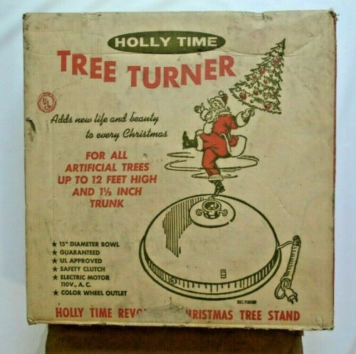 1964 Holly Time Artificial Christmas Tree Turner White Speckled W/Music WORKS!