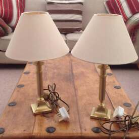 Two bedside table lamps height 16in.