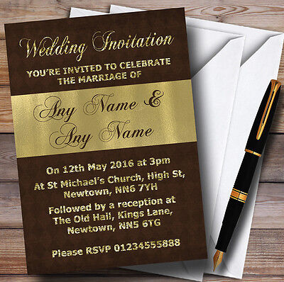 Brown And Glitter Look Gold Wedding Personalised Invitations Brown And Gold Wedding Invitations