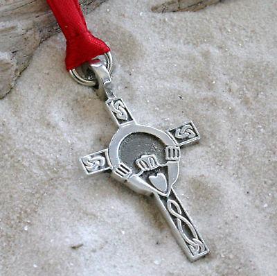 CLADDAGH CROSS IRISH Pewter Christmas ORNAMENT Holiday