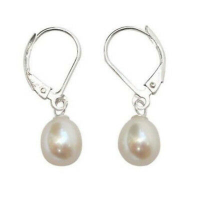8-9mm White Akoya Cultured Pearl Silver Leverback Drop Earrings