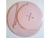 Brand New - Pink White Gingham 2 Tier Cupcake Holder Stand [Cardboard]