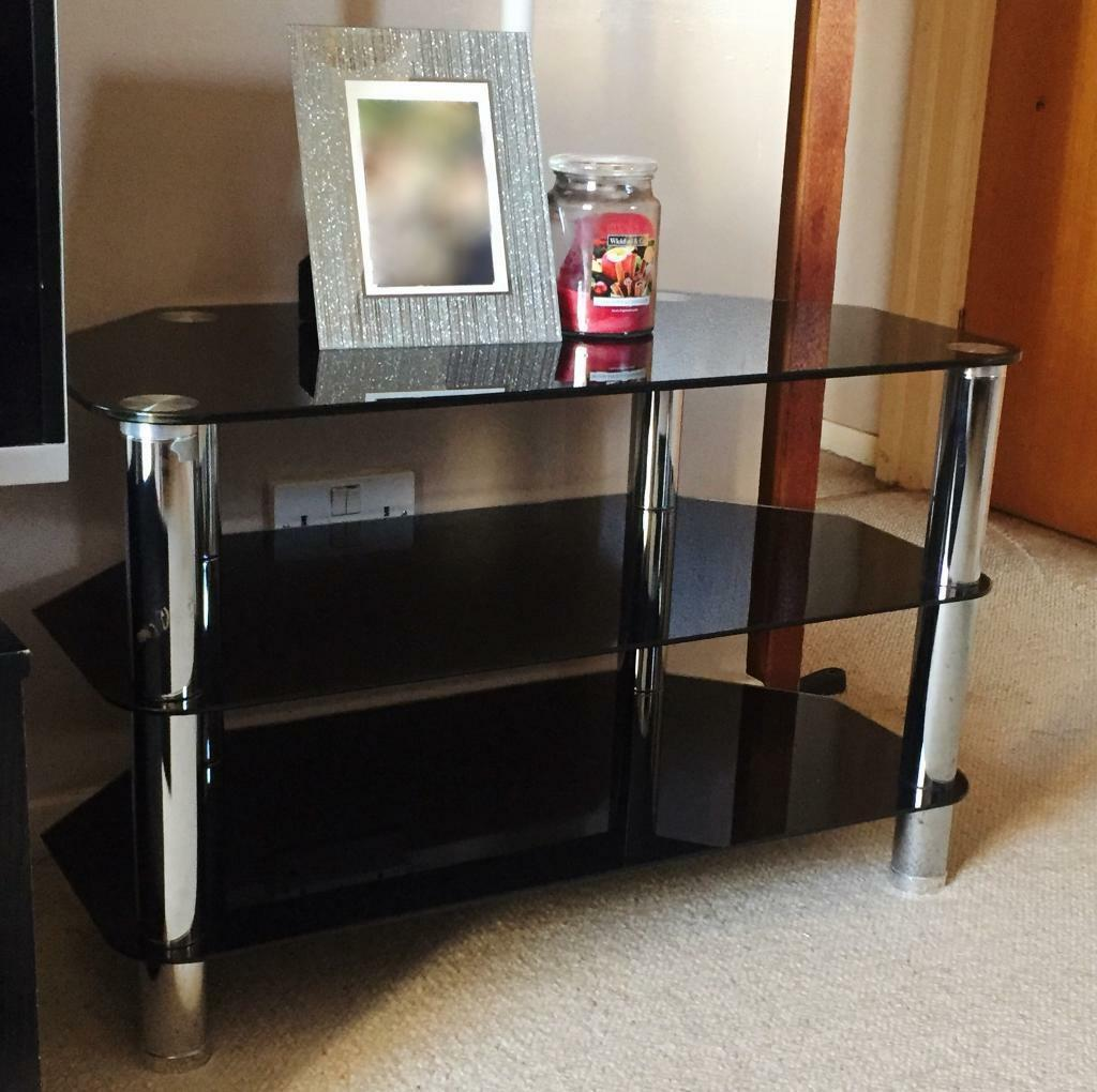 Black Glass Tv Stand In Kings Lynn Norfolk Gumtree # Table Tv En Coin