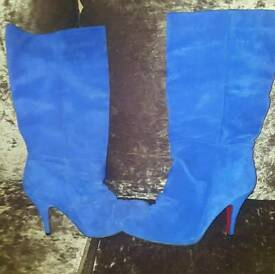 Suede Electric blue boots topshop size 4