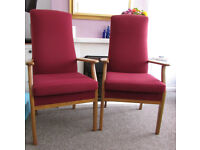 G plan style arm chairs high back Parker Knoll chairs studio care home chairs 2 for £55 only for
