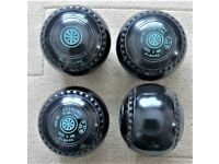 Lawn Bowls - NEW set Almark Stirling Slimline Size 3 Black WB24