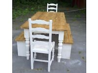 SHABBY CHIC FARMHOUSE TABLE CHAIRS BENCHES BIG SOLID TABLE 4FT SHABBY CHIC