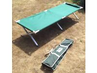 British Army folding aluminium framed camp / cot bed with bag