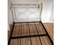 Ivory & gold wrought iron double bed frame from Penneys of Larne