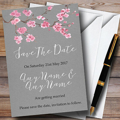 Rustic Vintage Dark Grey & Pink Blossom Personalised Wedding Save The Date Cards